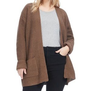 Brown Knit Open Front Cardigan Pocket Sweater